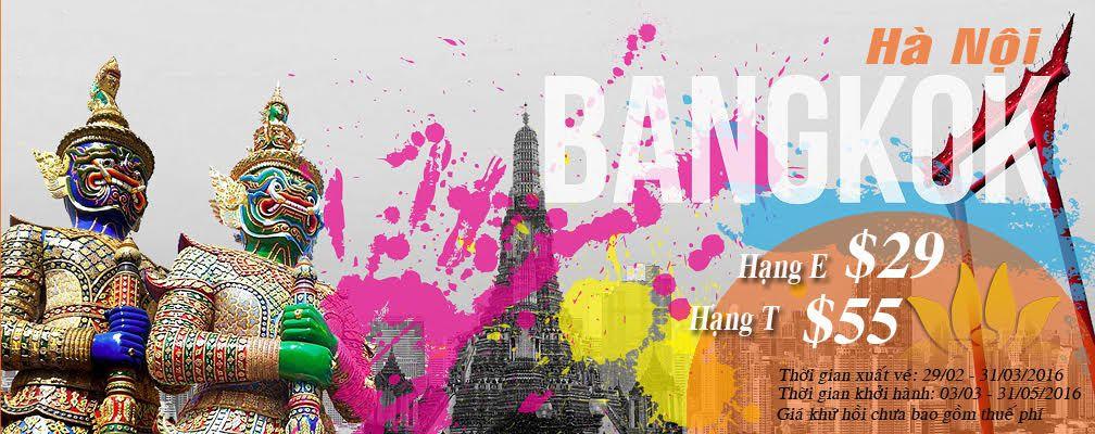 Vietnam Airlines khuyến mãi Hà Nội đi Bangkok 29usd