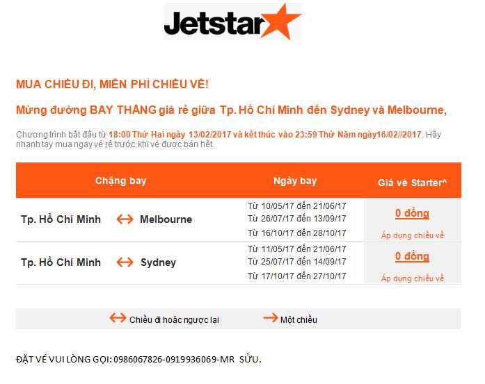 jetstar khuyến mãi bay thẳng Hồ Chí Minh và Úc