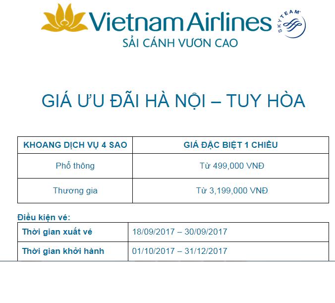 VN khuyến mãi Hà Nội - Tuy Hòa đến 30.9.17