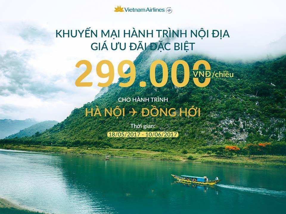 VN khuyến mãi Hanoi-Đồng Hới đến 10.6.17