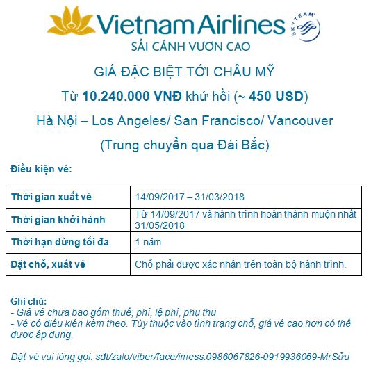 Vietnam airlines khuyến mãi đi Mỹ đến 31.3.2018