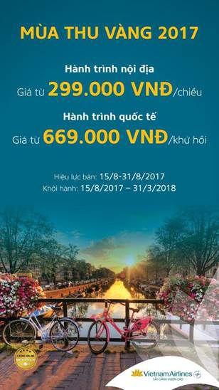 Vietnam Airlines khuyến mãi đến 31.8.17