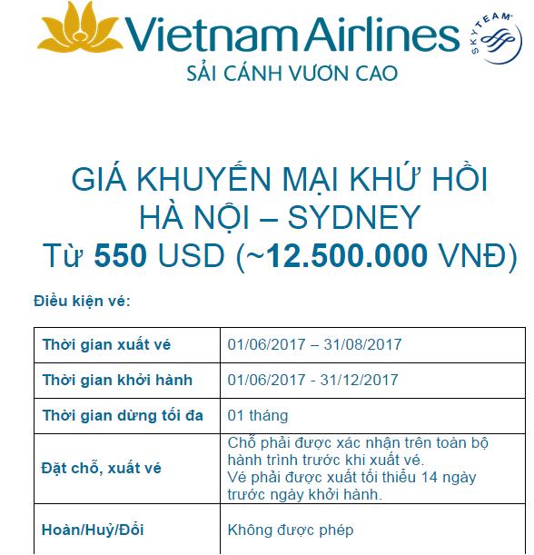 Vietnam airlines khuyến mãi 550usd hanoi-sydney đến 31.8.2017